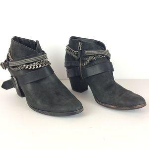 Dolce Vita Yazmina Black Chain Ankle Booties Sz 11